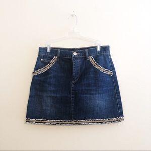 JUICY COUTURE Denim Chain Tweed Mini Skirt